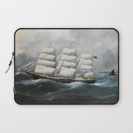 Vintage British Frigate Sailboat Painting (1881) Laptop Sleeve