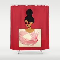 postcard Shower Curtains featuring High Bun Postcard Girl by The Pairabirds