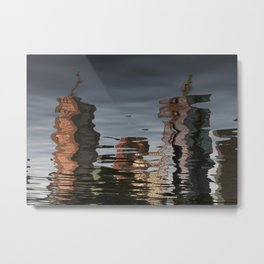Melbourne Yarra Water Reflection Metal Print