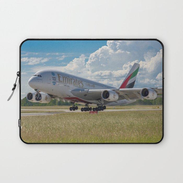 Airbus A380 Take-Off Laptop Sleeve by jorgebayonas