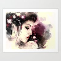 geisha Art Prints featuring Geisha by Vincent Vernacatola