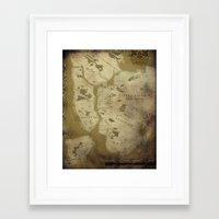 westeros Framed Art Prints featuring Fantasy Map of New York: Dirty Parchment by Midgard Maps