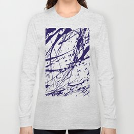 Modern abstract navy blue watercolor brushstrokes pattern Long Sleeve T-shirt