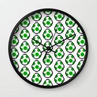 yoshi Wall Clocks featuring Yoshi Eggs by Rebekhaart