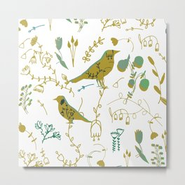 Chinoiserie White Green Paint #homedecor Metal Print