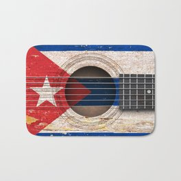 Old Vintage Acoustic Guitar with Cuban Flag Bath Mat
