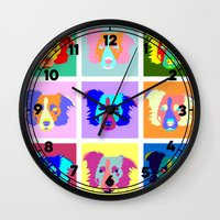 border collie Wall Clocks featuring Border Collie Pop Art by Pound Designs