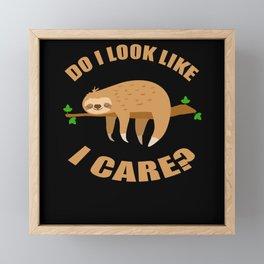 Do I Look Like I Care Sloth Laziness Framed Mini Art Print