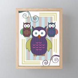 Striped Owls Framed Mini Art Print