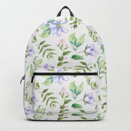 Watercolor lavender lilac green hand painted floral Backpack