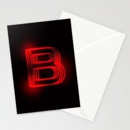 Red Neon B Stationery Cards