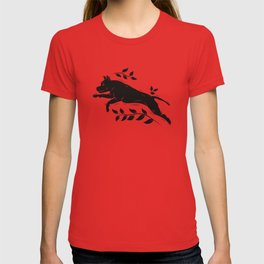 Jumping Dog With Leaves –black palette T-shirt