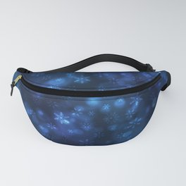 Blue Snowflakes Winter Christmas Pattern Fanny Pack