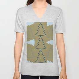Blue and Silver Trees Unisex V-Neck