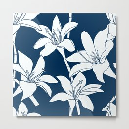 Amaryllis Floral Line Drawing, White Petals on Midnight Blue Metal Print