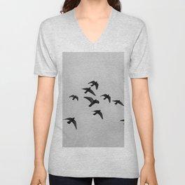 birds flying away Unisex V-Neck