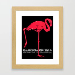 Vintage Pink flamingo Munich Zoo travel ad Framed Art Print
