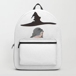 Beautiful girl witch with piercing, curly gray hair and flying cone-shaped hat. Backpack