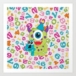 Birthday Monsters 4th Birthday Art Print