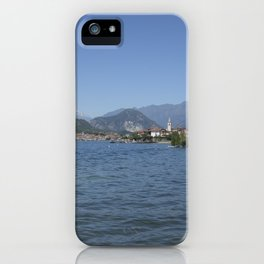 Panoramic view of Fishermen Island on Lake Maggiore, Italy iPhone Case
