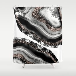 Agate Rose Gold Glitter Glam #3 #gem #decor #art #society6 Shower Curtain