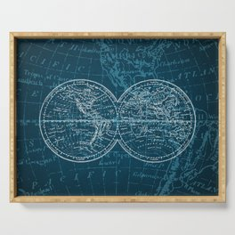 Antique Navigation World Map in Turquoise and White Serving Tray