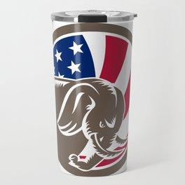Republican Elephant Mascot USA Flag Travel Mug