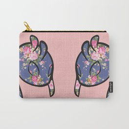 Pink Floral Alien Head Carry-All Pouch