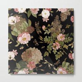 Vintage & Shabby Chic - Midnight Botanical Flower Roses Garden  Metal Print