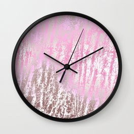 Abstract girly pink ivory rose gold texture pattern Wall Clock