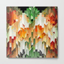 Geometric Tiled Orange Green Abstract Design Metal Print