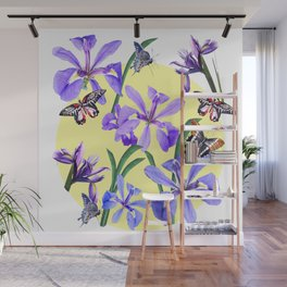 Irises and Butterflies Wall Mural