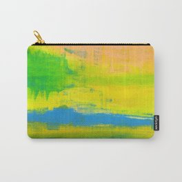 'A Sunny Day' Yellow Coral Blue Abstract Art Carry-All Pouch