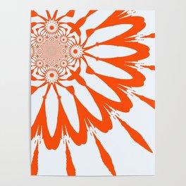 The Modern Flower White & Orange Poster