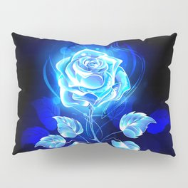 Burning Blue Rose Pillow Sham
