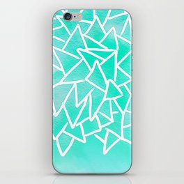 Blue turquoise watercolor geometric triangles iPhone Skin