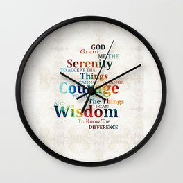 Colorful Serenity Prayer by Sharon Cummings Wall Clock