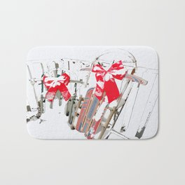 Sleds in the Snow Bath Mat