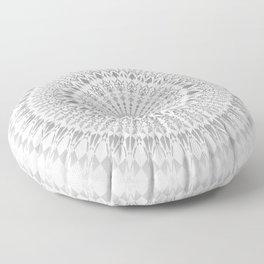 Light Grey White Mandala Floor Pillow