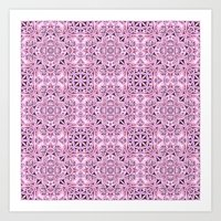 wallpaper Art Prints featuring Pink kaleidoscope wallpaper by David Zydd