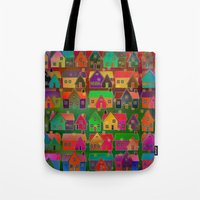 merry christmas Tote Bags featuring Merry Christmas! by Klara Acel