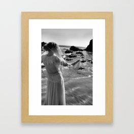 Woman In White Framed Art Print