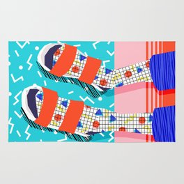 No Doi - memphis throwback retro classic style fashion 1980s 80s hipster shoes socks urban trendy Rug