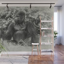 Male gorilla sitting on the ground Wall Mural