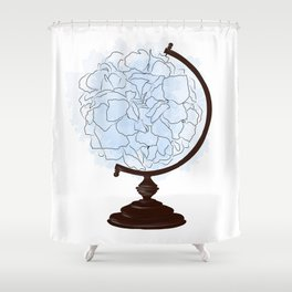 Floral globus Shower Curtain
