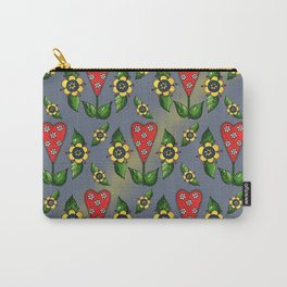 Hearts with Flowers Carry-All Pouch