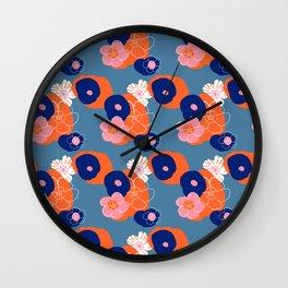 Hibiscus Trionium Wood Block Pattern Wall Clock