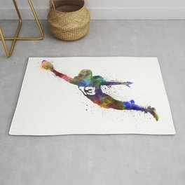 american football player man scoring touchdown silhouette Rug