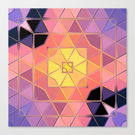 yellow pink violet black sqaure Canvas Print