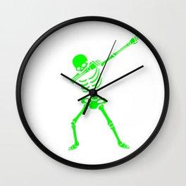 Dabbing Skeleton Green Wall Clock